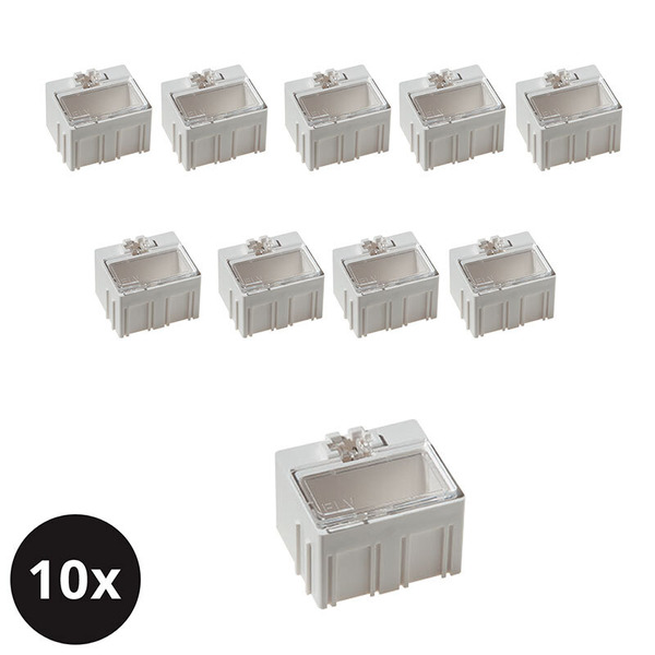 10er-Set ELV SMD-Sortierbox, Altweiß, 23 x 31 x 27 mm