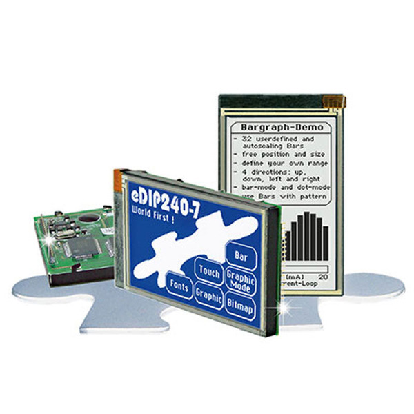 eDIP-Display, Blau-weiß negativ mit Analog-Touchpanel