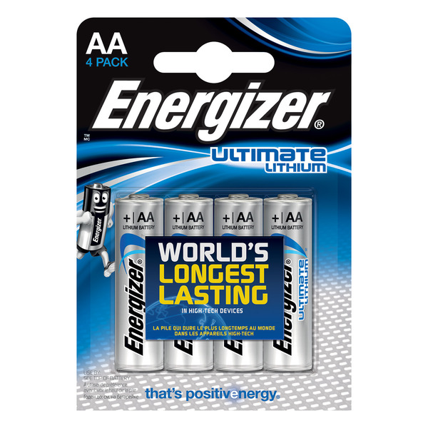 Energizer Ultimate Lithium-Batterie Mignon AA, 1,5V, 3000 mAh, 4er Pack