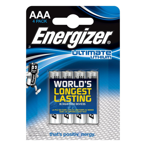 Energizer Ultimate Lithium-Batterie Micro AAA, 1,5V, 1250 mAh, 4er Pack