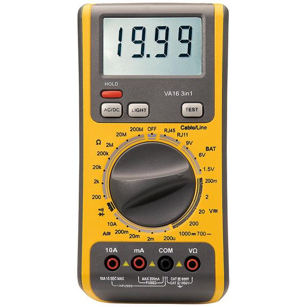 ELV 3 in 1 Digital-Multimeter VA 16 mit Netzwerk-/Telefonkabel- und Batterietester