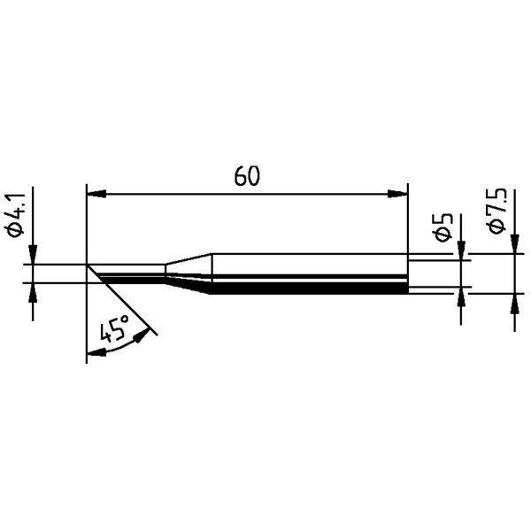 Ersatzlötspitze für ERSA Multitip 25 W, abgeschrägt, 45°, 4,1 mm