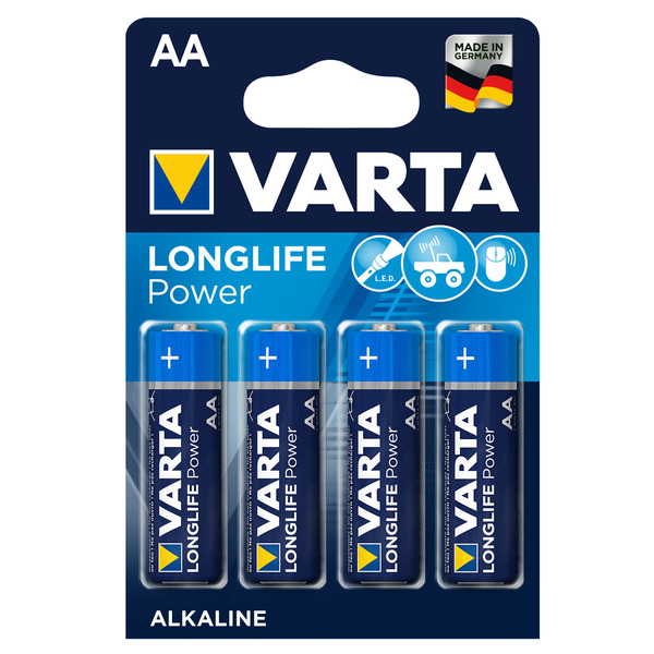 Varta Longlife Power Alkaline Batterie Mignon AA, 4er Pack