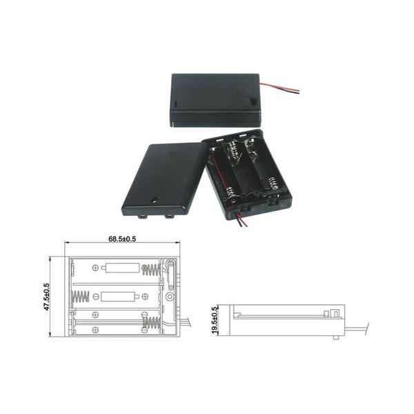 Batteriehalter für 3 x Mignon Batterie mit Anschlusskabel
