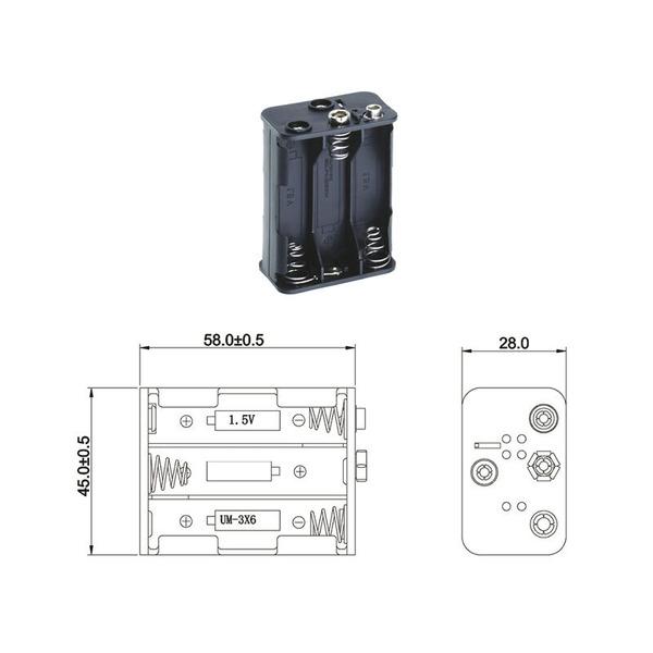 Batteriehalter für 6 x Mignon Batterie mit Druckknopf-Anschluss