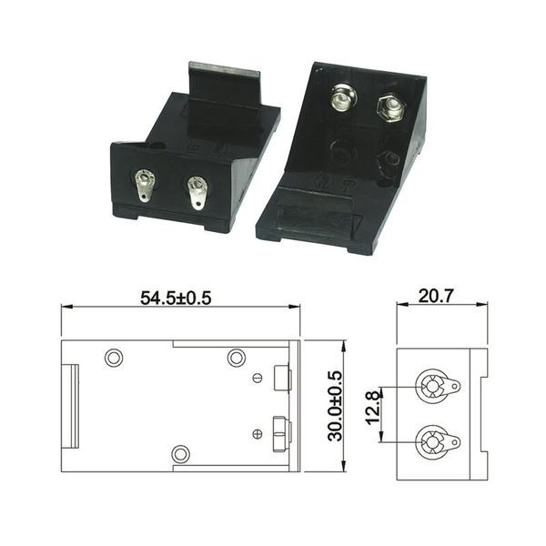 Batteriehalter für 1 x 9-V-Block mit Lötanschluss