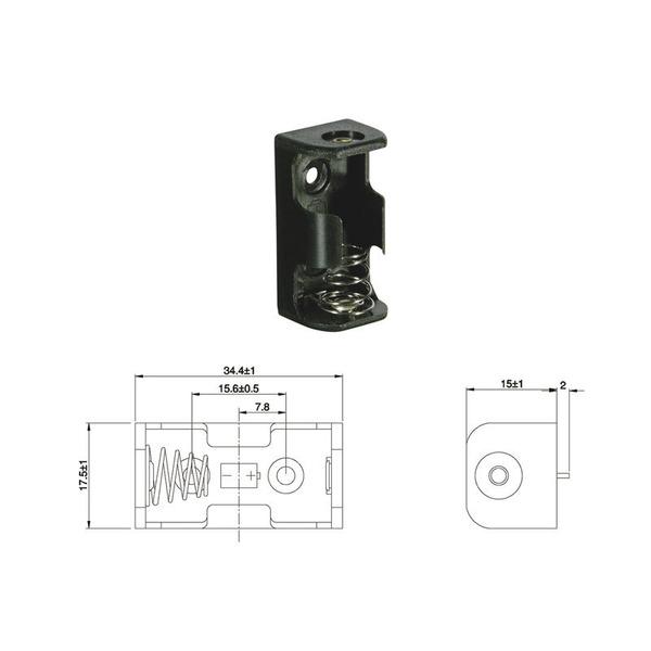 Batteriehalter für 1 x CR2 mit Print-Anschluss