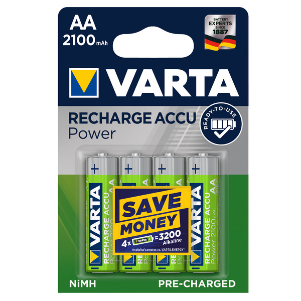 Varta Recharge Akku Power AA 2100mAh, 4er Pack