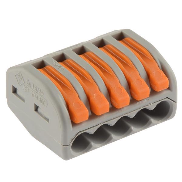 Wago 222 Verbindungsklemme wieder lösbar, 5 Klemmstellen, 5 x 0,08 - 2,5 mm² im 40er Pack