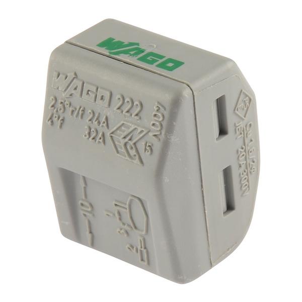 Wago 222 Verbindungsklemme wieder lösbar, 3 Klemmstellen, 3 x 0,08 - 2,5 mm²