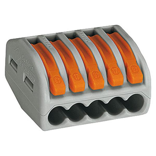 Wago 222 Verbindungsklemme wieder lösbar, 5 Klemmstellen, 5 x 0,08 - 2,5 mm²