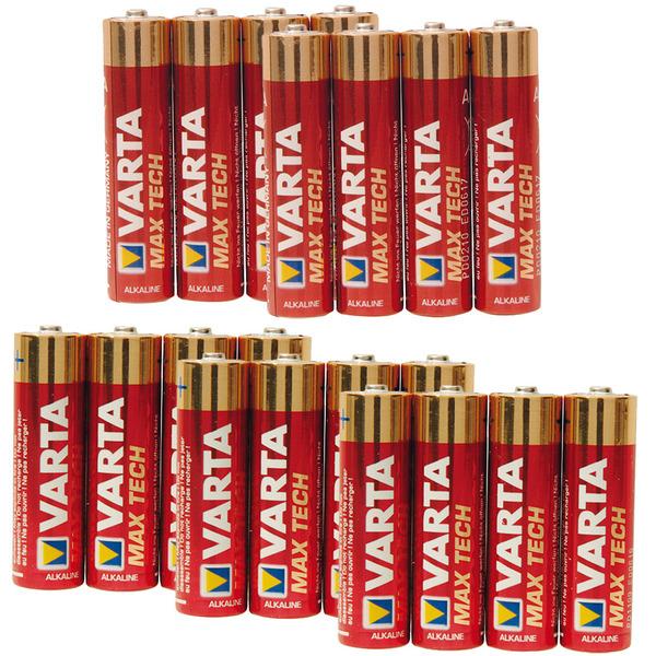 Varta MaxTech Alkaline Batterie - Vorratspack, 8 x Micro AAA und 16 x Mignon AA