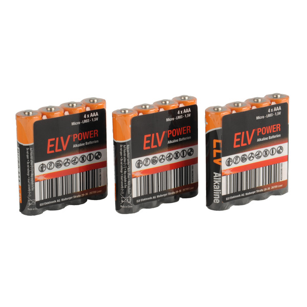 ELV POWER Alkaline Batterie Micro AAA, 12 Stück