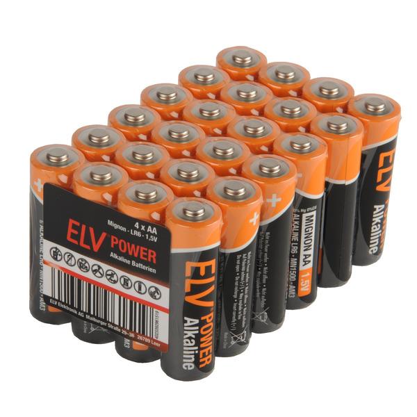 ELV POWER Alkaline Batterie Mignon AA, 24 Stück