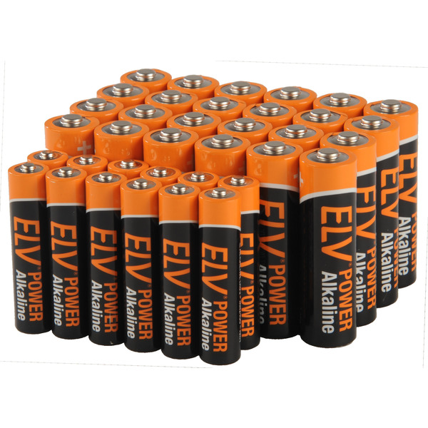 ELV POWER Alkaline Vorratspack,  12x Micro AAA und 24x Mignon AA