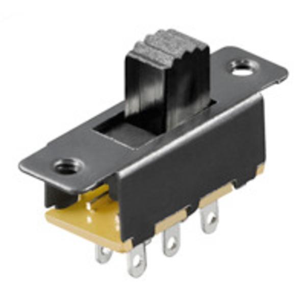 Schiebeschalter, 0,1 A/250 V, 6 Pins, 2x um