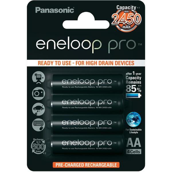 Panasonic eneloop 4er-Pack NIMH-Akkus, Mignon 2450 mAh