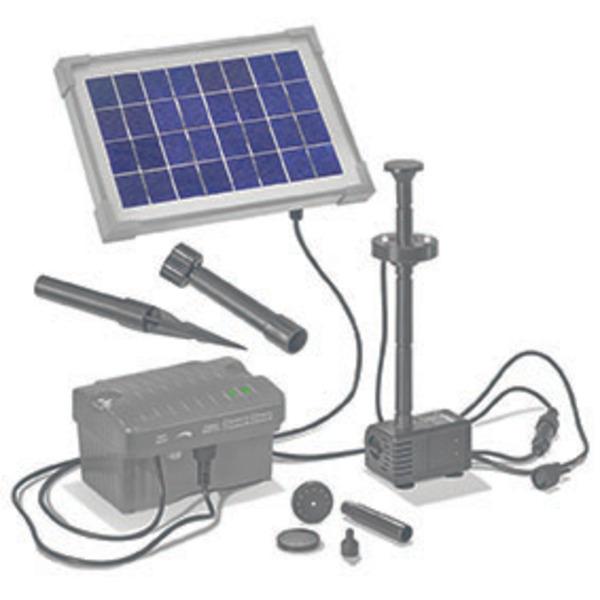 esotec Palermo Solar-Teichpumpensystem mit Akku und LED-Beleuchtung