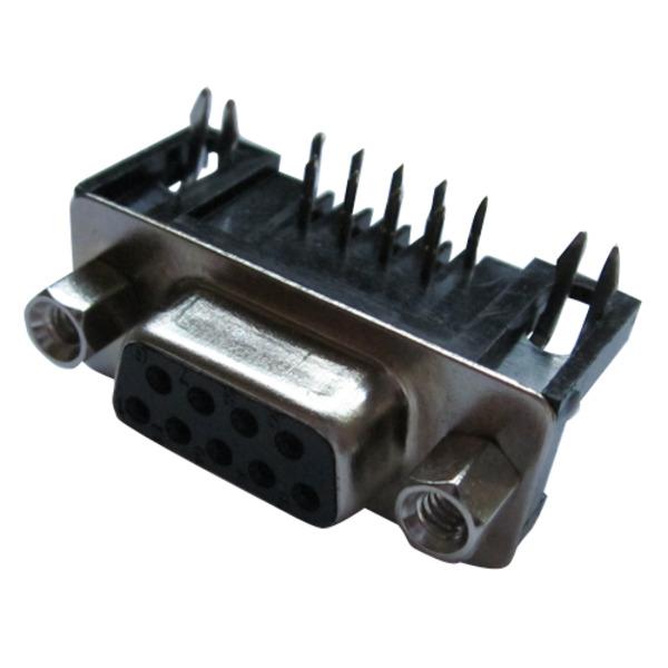 D-Sub. Buchse DPRS 09 F, 7,2 mm, 9 polig, 90° mit Bolzen