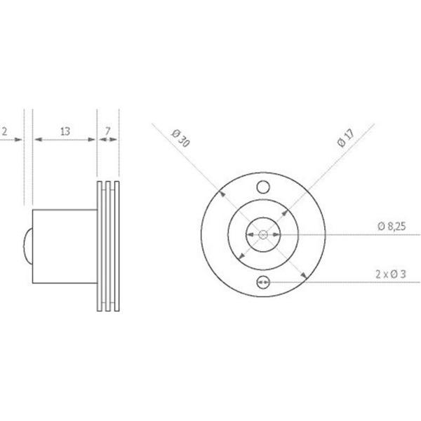 ledxon LED-Modul LEDxALUSTAR 60°, 3 W Edison, 700 mA, Kaltweiß