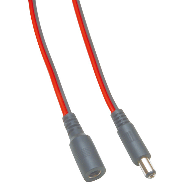 DC-Verlängerung 2 x 0,4 mm² mit DC-Hohlstecker 2,1/5,5/9,5 mm auf 2,1/5,5 mm, 3 m, rot-schwarz