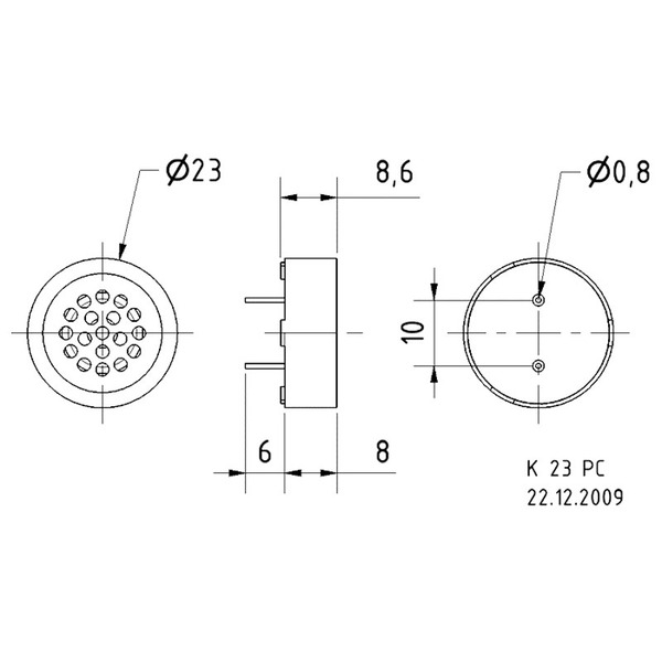VISATON Kleinlautsprecher zur Montage auf Leiterplatten 2,3 cm, K 23 PC / 8 Ω