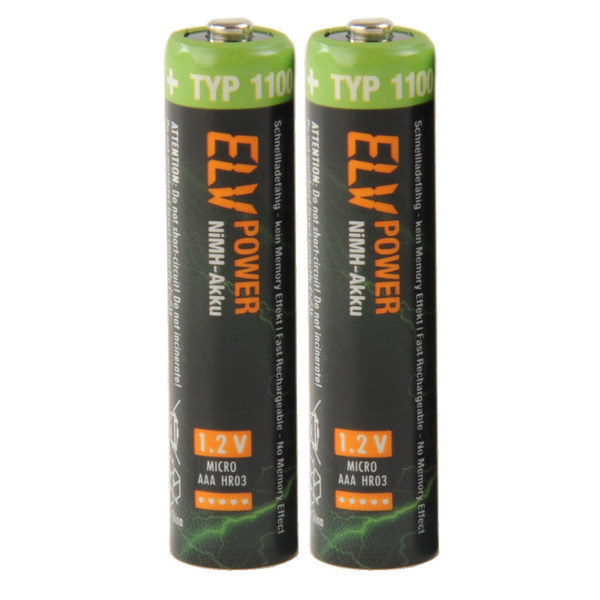 ELV Power NiMH-Akku Micro Typ 1100, 1050 mAh, 2er Pack