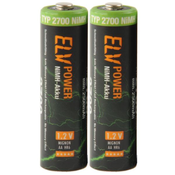 ELV Power NiMH-Akku Mignon Typ 2700, 2500 mAh, 2er Pack