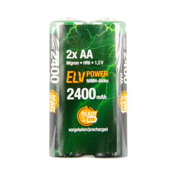 ELV Power Accu Ready-to-Use Mignon, 2400 mAh, 2er Pack