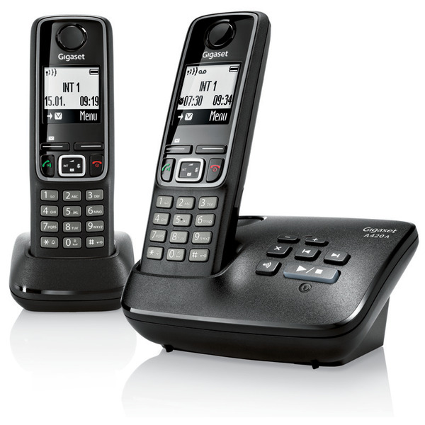 Gigaset A420A Duo Schnurlostelefon mit Anrufbeantworter, plus Mobiltteil, schwarz