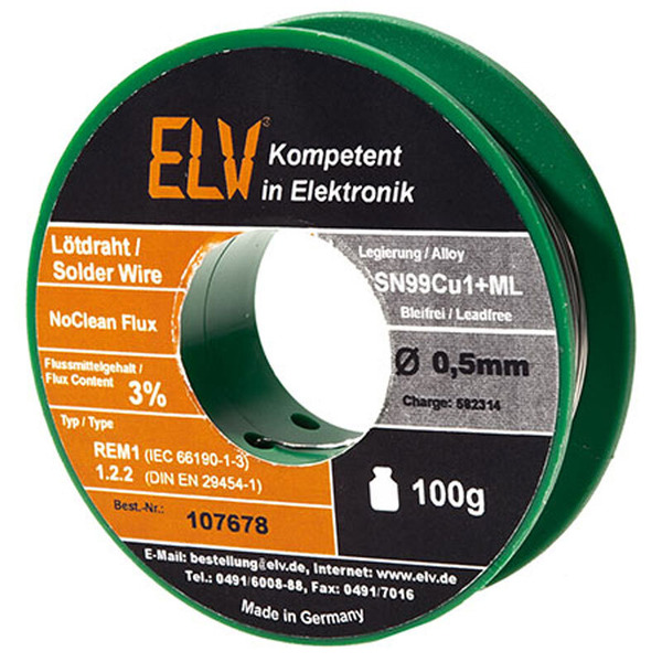 ELV No-Clean Lötzinn bleifrei Sn99Cu1+ML, 0,5 mm, 100 g