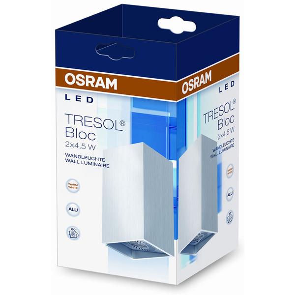 OSRAM Tresol Bloc 9-W-LED-Wandleuchte, silber