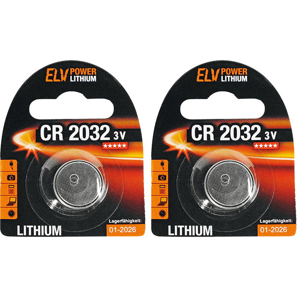 ELV Power Lithium-Knopfzelle CR 2032, 2er Pack