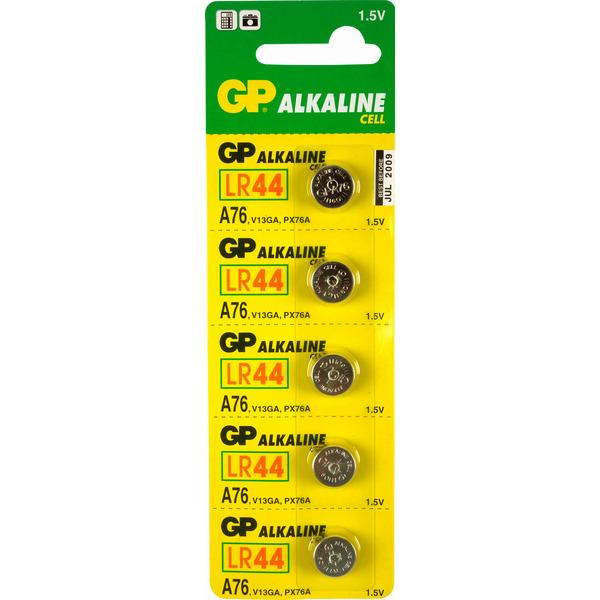 GP Alkaline Knopfzelle 76A (LR44 / AG13 / V13GA / L1154), Blister 5