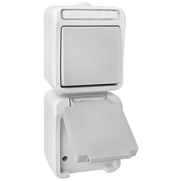 EMZ FR-AP Kombination Wechselschalter-Steckdose IP54, senkrecht