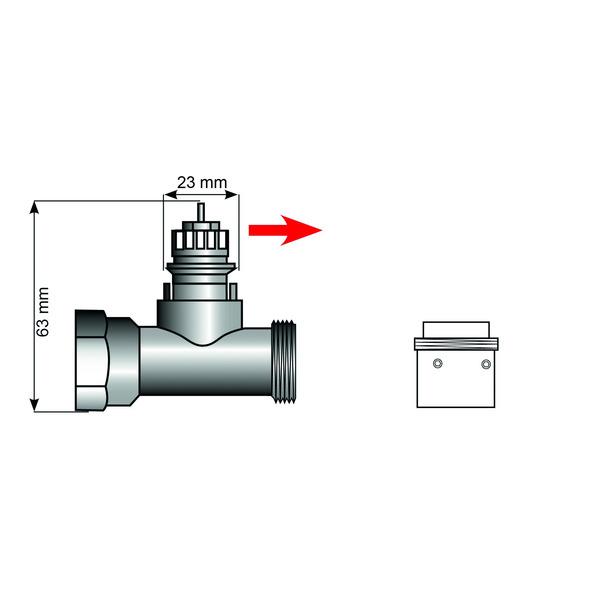 Heizungsventiladapter für Danfoss-RA-Adapter, mit 4 Kerben (Messing)
