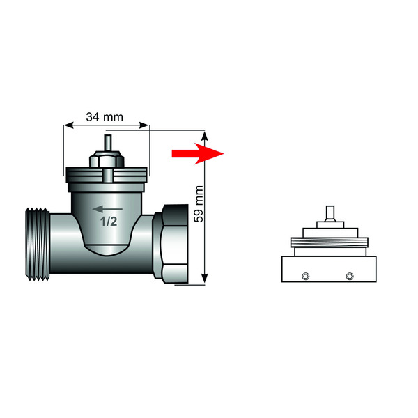 Heizungsventiladapter für Danfoss RAV, 34 mm mit 4 Kerben (Messing)
