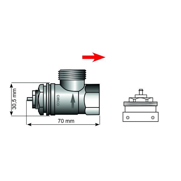 Heizungsventiladapter für Vaillant 30,5 mm (Messing)