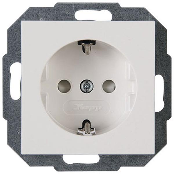 Kopp Objekt HK 07 Schutzkontakt-Steckdose 1fach, mit erhöhtem Berührungsschutz (Kinderschutz), reinw