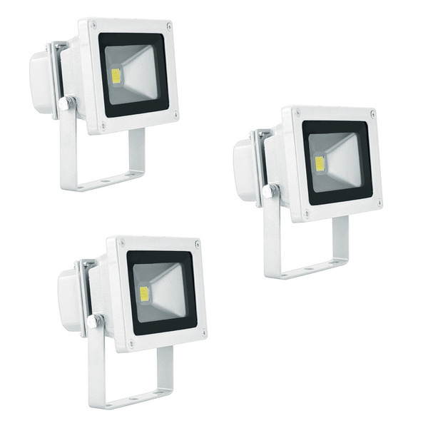 Heitronic Waterford 10-W-LED-Fluter mit Epistar-LED, warmweiß, weißes Gehäuse, 3er-Set