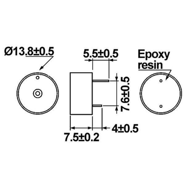 HITPOINT Piezo-Signalgeber mit integrierter Treiberschaltung 12 V, 4,1 kHz