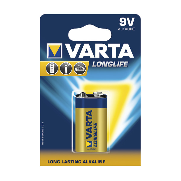Varta Longlife Alkaline Batterie 9-V-Block, 1er Pack