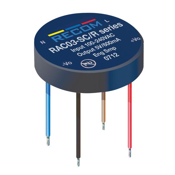 RECOM AC/DC-Unterputz-Netzteil RAC03-05SER/277, 5 V DC, 600 mA