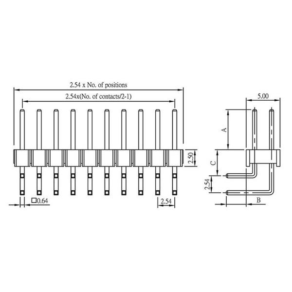 econ connect Stiftleiste SL25WD34GA, 2x 17-polig, gewinkelt, RM 2,54 mm