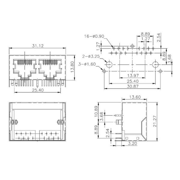 econ connect Modular-Einbaubuchse Multiport 3012S02, 8P8C, 2x RJ45, geschirmt
