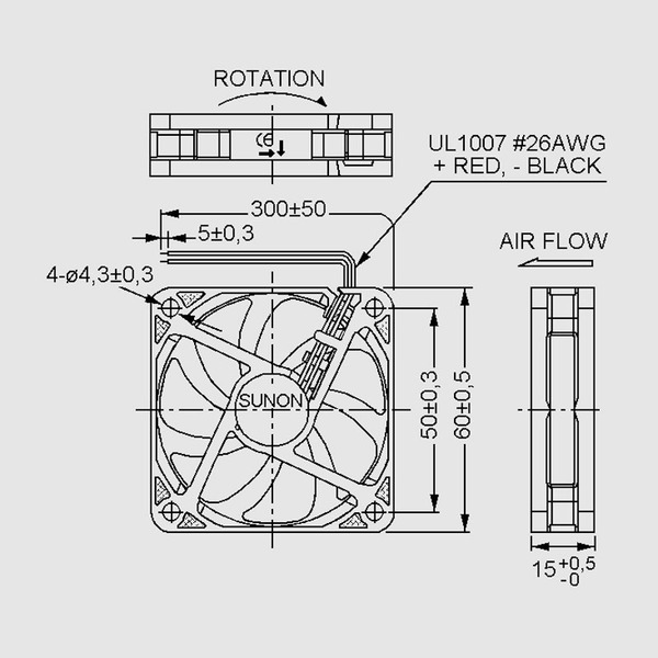 SUNON 12-V-Axial-Lüfter HA60151V4-999 60 x 60 x 15 mm