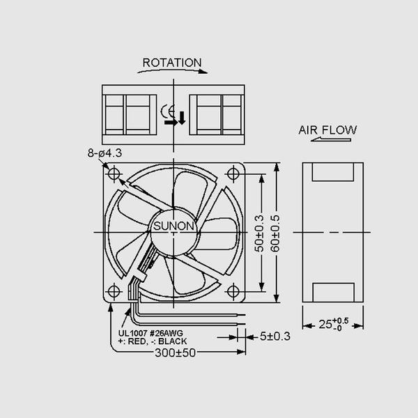 SUNON 12-V-Axial-Lüfter HA60251V4-999 60 x 60 x 25 mm
