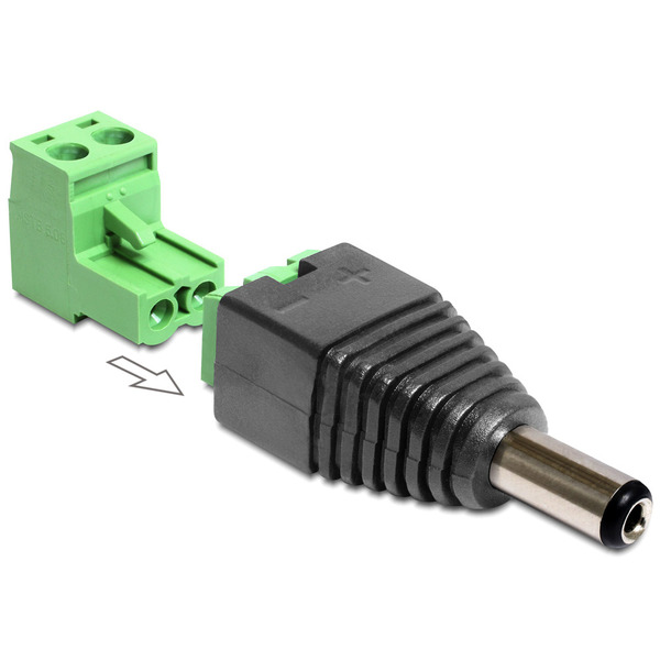 Delock Adapter Terminalblock > DC 2,5 x 5,5 mm Stecker 2-teilig