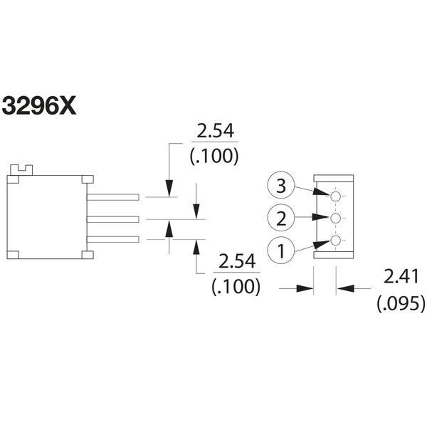 Bourns Spindeltrimmer 3296X-1-101LF, stehend, 100 Ω