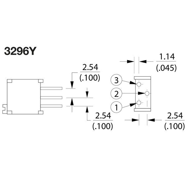 Bourns Trimmer 3296Y-1-101LF, stehend, 100 Ω